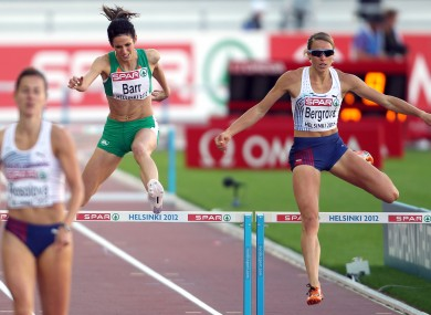 eland's Jessie Barr during the Women's 400m hurdles final.
