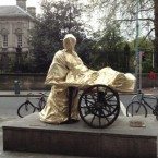 Molly Malone in May 2012, covered in tinfoil (Twitter at @Pamille)