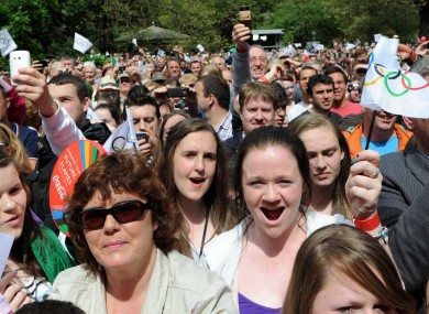 Crowds gather in St Stephen's Green Dublin for the end of of the Olympic Torch relay in Dublin today