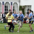 Younger teams play before the Irish American Flag Football Classic at the American Ambassador's residence today.