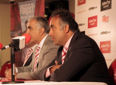 Nottingham Forest owners Abdulaziz Al Hasawi (left) and Fawaz Al Hasawi (right) listen at a press conference.