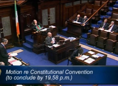 Micheál Martin speaking during a debate on the Constitutional Convention in the Dáil this evening.