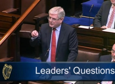 Eamon Gilmore speaking in the Dáil this morning.