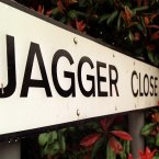 The sign for Jagger Close in Dartford built in 1988.  The street is named to commemorate the first meeting of Mick Jagger and Keith Richards of the Rolling Stones on a Dartford to London train in 1960. 