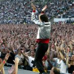 Jagger performs on stage during the European Start of the 