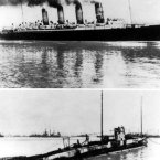 Undated photos of top, the British liner Lusitania, and bottom the German submarine U-139 which sank it.