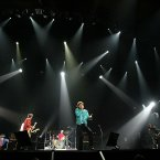 The Rolling Stones perform live on Stage during their Licks Tour at the Wembley Arena London August 29, 2003 in London.  
