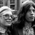 Mick and his girlfriend actress Marianne Faithfull, on their way to Marlborough Street Court on a charge of possessing cannabis (1969). 