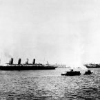 The ocean liner Lusitania, under British registration, leaves New York on its last voyage on May 1, 1915. 