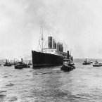 This is a general view of the British cargo and passenger ship Lusitania as it sets out for England on its last voyage from New York City on May 1, 1915. 