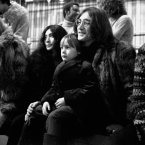 Yoko Ono, Julian Lennon and his father John Lennon (of the Beatles) at the rehearsal of the Rolling Stones Rock and Roll Circus, at the Intertel Studios, Wembley, London.