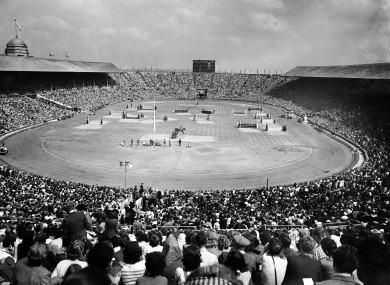 A general view of the Prix Des Nations which preceded the closing ceremony of the Olympic Games at Wembley Stadium.