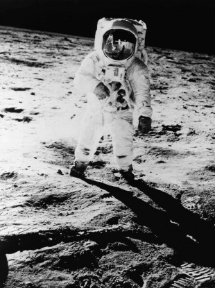 Buzz Aldrin posing for pics on the moon in July 1969