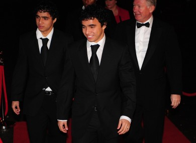 Alex Ferguson with Rafael and his twin Fabio.