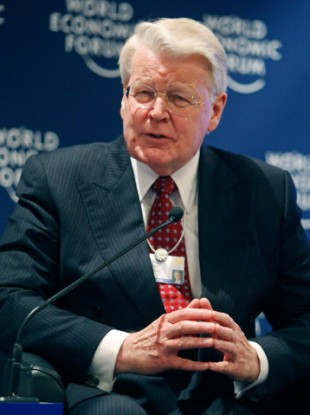File photo of Grimsson at the World Economic Forum, Davos.