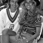 Rolling Stone Bill Wyman, and his 18 year old bride-to-be Mandy Smith at the launch of Sticky Fingers, the veteran rocker's restaurant in Kensington, London.
