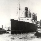The Lusitania sailing from New York on 1st May 1915 on her last voyage before being sunk by a German U-Boat of the coast of Ireland on 7th May 1915. Nearly 1200 lives were lost.