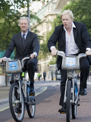 On his bike: Barclay's chairman Marcus Agius at a photocall with London Mayor Boris Johnson last year.