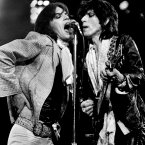 Mick Jagger and Keith Richards in the Boston Garden July 11, 1975 during the Rolling Stones' 