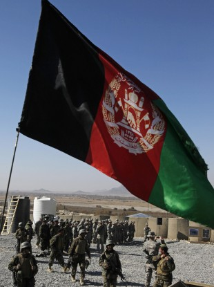 The Afghan national flag 