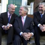 With Anglo's chief operating officer Tiernan O'Mahoney and director Peter Killen, November 2003 (Pic Photocall Ireland)
