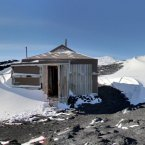 The exterior of Robert Falcon Scott's hut, as seen on Streetview.