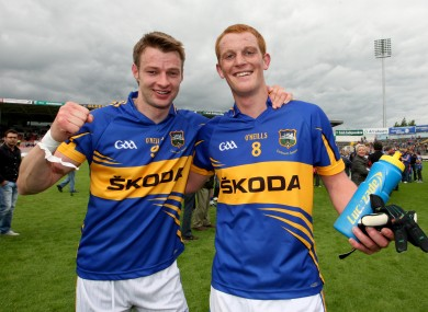 George Hannigan (right), celebrates Tipperary's recent qualifier win over Wexford with teammate Hugh Coghlan.