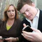 Although you won't catch Enda with an iPhone (he loves his Nokia too much). Here Irish rugby star Brian O'Driscoll comes to terms with the first generation iPhone in 2008.
