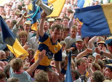 Clare fans celebrate after their 1992 Munster final victory over Kerry.
