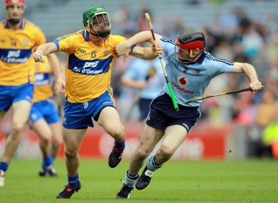 Clare's Colin Ryan and Dublin's Niall Corcoran square off in their 2010 championship meeting.