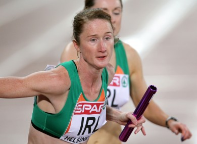Ireland's Joanne Cuddihy competes in the Women's 4x400m.
