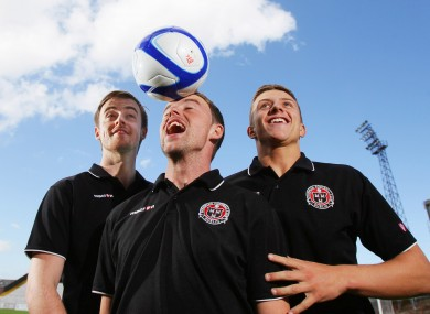 Ryan McEvoy, Keith Ward and Keith Buckley at Dalymount Park yesterday.