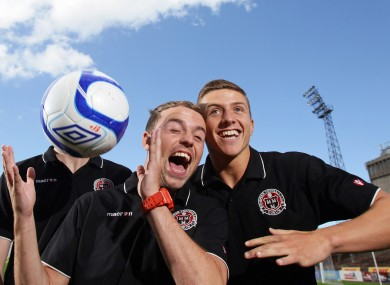 Bohs players Keith Ward and Keith Buckley. 