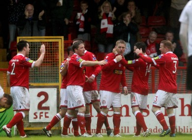 The Shelbourne players celebrate.