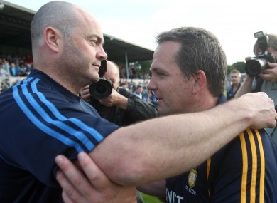 Anthony Daly and Davy Fitzgerald embrace after Saturday's game.