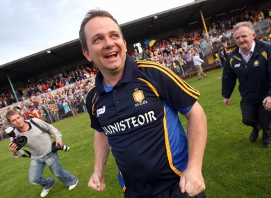 Clare boss Davy Fitzgerald celebrates the win over Dublin on Saturday evening.