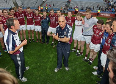 Anthony Cunnigham and his Galway players after last Sunday's game.