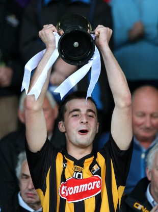 Kilkenny captain Kevin Kelly lifts the trophy.