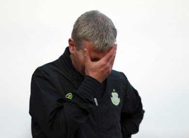 Stephen Kenny shows his frustration during the Drogheda-Rovers clash.