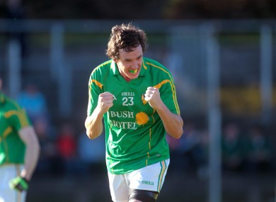 Leitrim's Gerry Hickey celebrates a late score.