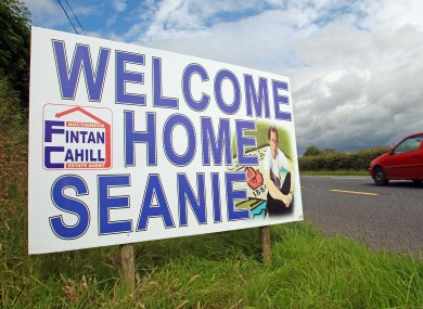 A sign in Cavan welcomes Johnston back.
