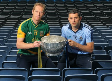 Brogan (right) with Meath's Graham Geraghty yesterday. 