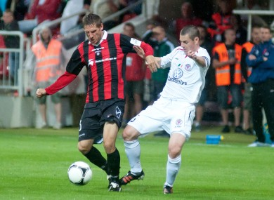 Sligo skipper Danny Ventre and Vlastimil Stozicky of Spartak Trnava.