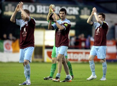 Drogheda's Gavin Brennan acknowledges the fans after the game.