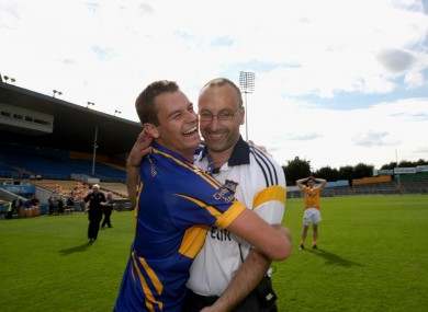 Tipperary's Alan Moloney and Peter Creedon celebrate after yesterday's tie in Thurles.