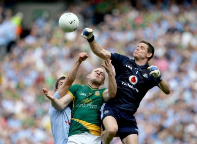 Dublin's Stephen Cluxton and Rory O'Carroll battle with Meath's Joe Sheridan for possession in today's Leinster football final.