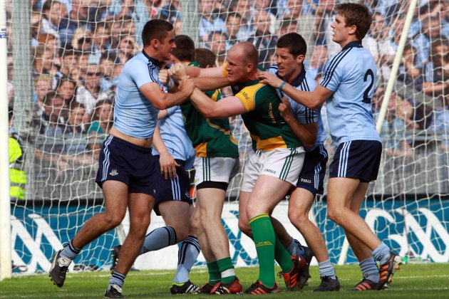 James McCarthy, Michael Fitzsimons and Rory O'Carroll of Dublin with Joe Sheridan 22/7/2012