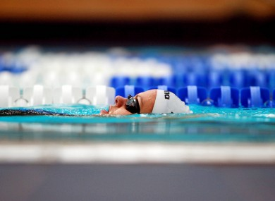 Grinne Murphy trains at the National Aquatic Centre, Dublin ahead of her departure for the Olympics.