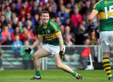 Kerry's James O'Donoghue celebrates after scoring against Clare.
