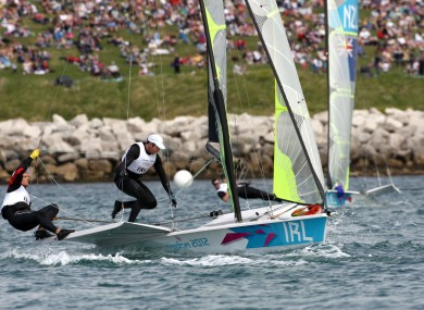 Ireland's Matt McGovern and Ryan Seaton compete in the Men's 49ers, race 1 sailing on the waters off Weymouth today.